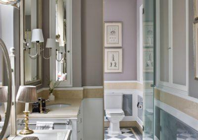 Baño, bathroom, lujo, luxury, classical, despiece mármol, espejos
