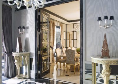 Hall, sophisticated, interior design, decoración, console, mirror, doors