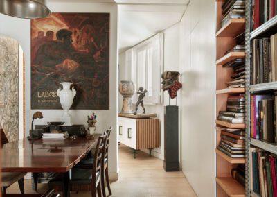 Cuadro painting Mario Stroppa, mesa table palisandro Rosewood, aparador, sideboard
