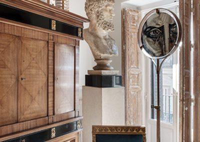 Emperor sculpture busto enperador siglo XIX centurySweeden cabinet, Mirror drawing Felipe Rincon, Empire style chair butaca imperio