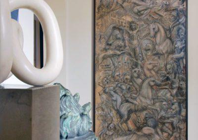 Cuadro painting Felipe Rincon studio escultura hall bronze bronze baúl escultura sculpture Maru Oriol