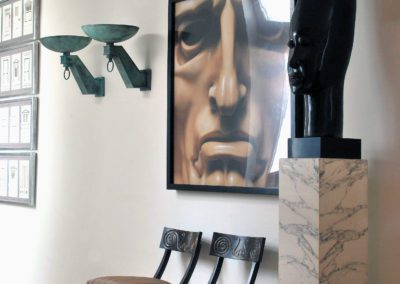 African art, sculpture, Massimo Listri Hall sillas Klismos chairs Marble mármol sconces apliques