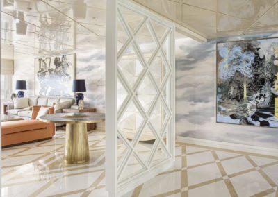 2 a Hall livingroom salón cristal gueridon chaiselounge lujo sofisticado cuadro painting by Xavier Grau