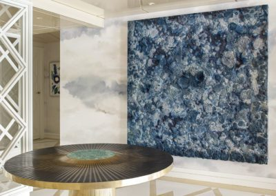 3 Hall living room salón cristal elegante lujo sofisticado mesa gueridon by Yann Dessauvages cuadro painting by Bosco Sodi